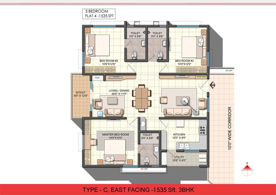 Lovely 3 Bhk Single Floor House Plan