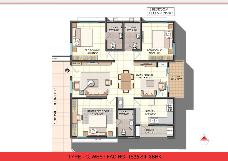 Glamorous 3 bhk single floor house plan pictures best for Single floor 3 bhk house plans
